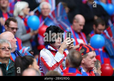 Crystal Palace supporters seen during the FA Cup Final between Manchester United and Crystal Palace at Wembley Stadium  21 May 2016.  Photo James Boardman / Telephoto Images - Stock Photo