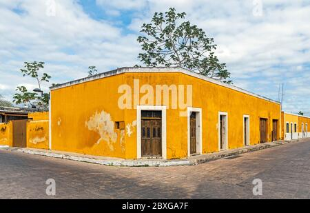 Colonial style architecture with yellow colors in Izamal, Yucatan Peninsula, Mexico.