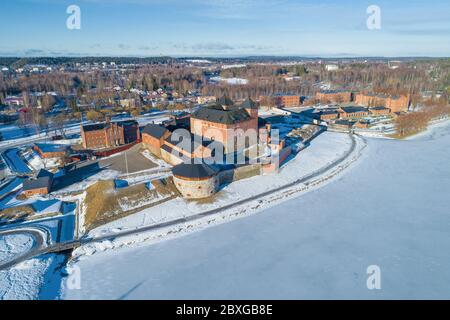 View of the old fortress Hameenlinna on a sunny March day (shooting from a quadrocopter). Hameenlinna, Finland - Stock Photo