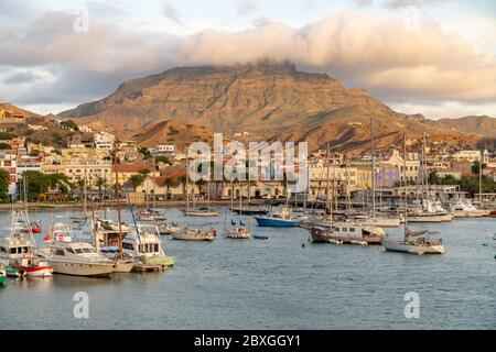View on the harbor of Mindelo at dusk - Stock Photo