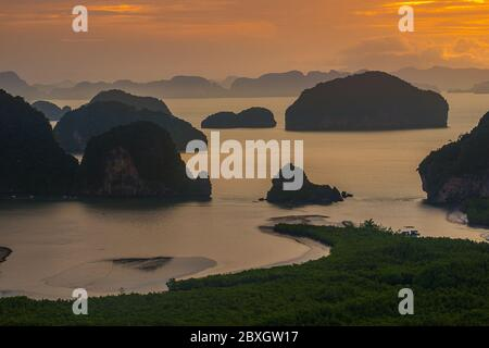 Samet Nangshe Overlook in the early moring, Seascape  south of Thailand. Landscape and Travel Photography