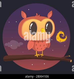 Cartoon owl sitting on branch on background of the full moon