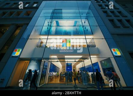 NEW YORK, USA- 01 MAY, 2020: Microsoft sign on the office building in New York. - Stock Photo