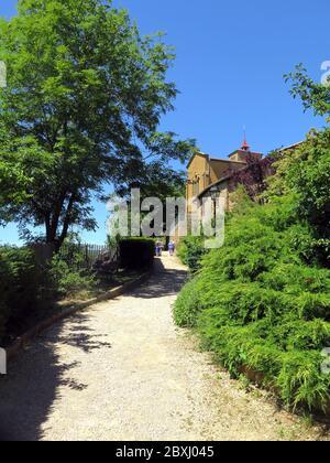 France, Rhone, Val d'Oignt, village of Oignt, restored, XII c., donjon, art shops, craft shops, cement animals, hilltop, - Stock Photo