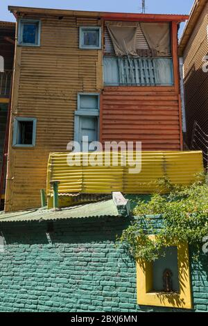 Colourful wood and corrugated iron buildings in the La Boca district of Buenos Aires, Argentina, South America
