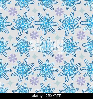 Flower Seamless Pattern in Blue and Purple - Pastel Colors on Gray Background - Stock Photo