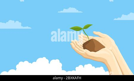 Detailed flat vector illustration of two hands holding a sprout representing sustainability. Blue background with clouds. - Stock Photo