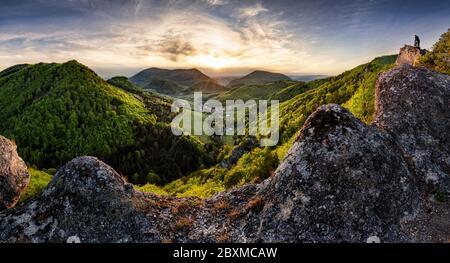 Majestic sunset in the mountains landscape. Dramatic sky. Carpathian, Slovakia, Europe. Beauty world. - Stock Photo