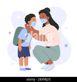 Mother putting on face mask on her child boy for protection against coronavirus infection, cartoon realistic characters, covid prevention, parent
