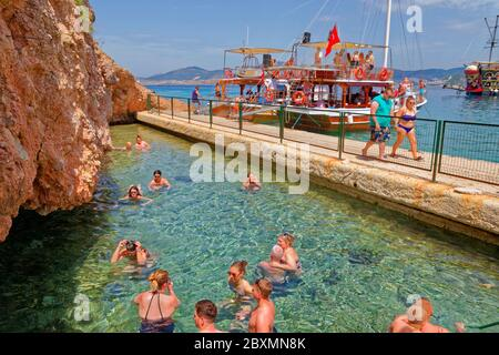 Cleopatra's cave and hot spring pool on Black island opposite Bodrum town in Mugla Province, Turkey.