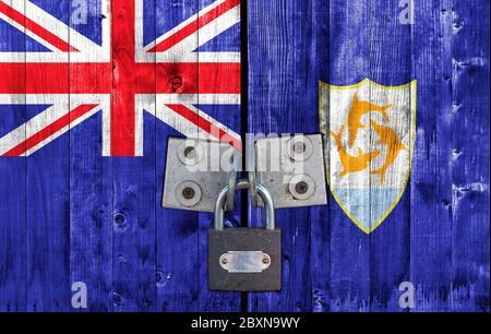Anagullia flag on door with padlock - Stock Photo