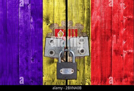 Andorra flag on door with padlock - Stock Photo