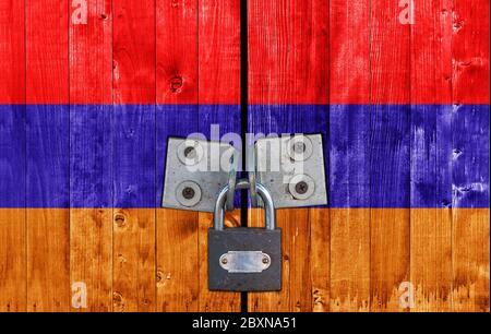 Armenia flag on door with padlock - Stock Photo