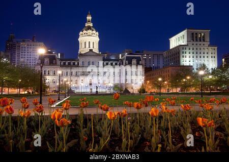 Baltimore City Hall  and War Memorial Plaza at dawn, Baltimore, Maryland, United States