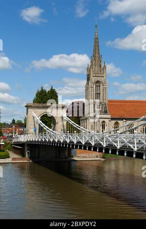 All Saints Church and suspension bridge, Marlow, Buckinghamshire, England, United Kingdom, Europe - Stock Photo