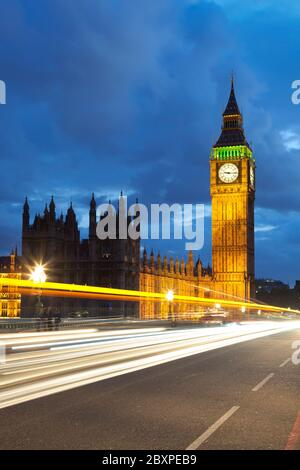 Big Ben and Parliament with car light trails at dusk, London, United Kingdom
