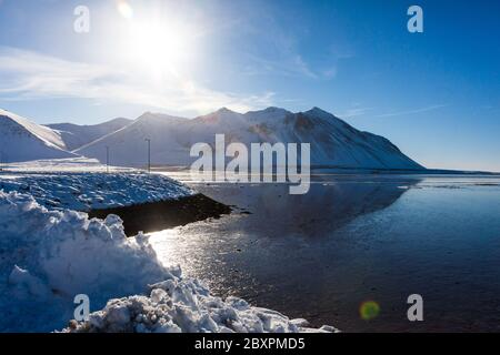 Borgarnes view during winter which is a town located on a peninsula at the shore of Borgarfjordur, Iceland - Stock Photo