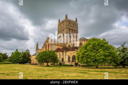 A west view of Tewkesbury Abbey Church in Gloucestershire, England