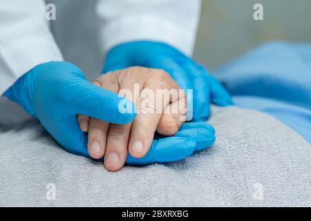 Doctor holding touching hands Asian senior or elderly old lady woman patient with love, care, helping, encourage and empathy at nursing hospital ward
