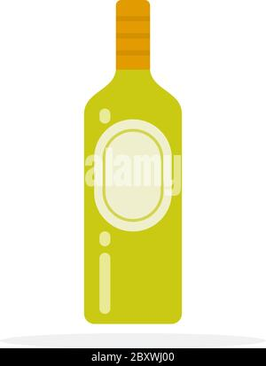 Green liquor in a bottle vector flat material design isolated object on white background. - Stock Photo
