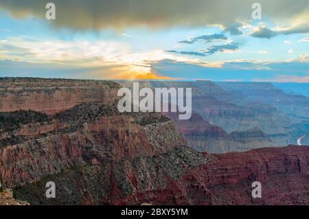 Grand Canyon at sunset, Arizona, USA - Stock Photo