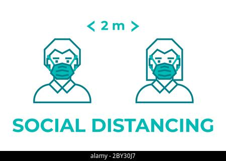 Man and woman wearing face mask maintain social distancing. Precautions for the coronavirus. Steps to protect yourself. - Stock Photo