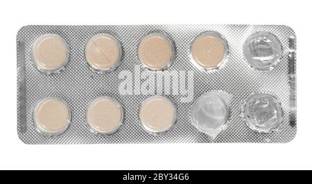 Old used pack tablets isolated on white background - Stock Photo
