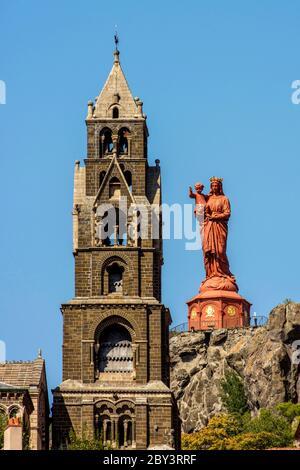 Cathedral and Statue of Mary, Notre Dame de la France on the Rocher Corneille, Le Puy-en-Velay, Haute-Loire, Auvergne-Rhone-Alpes, France - Stock Photo