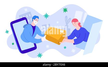Delivery man in medical facial mask, gloves giving parcel to a young woman on quarantine. Concept of safe delivery during coronavirus pandemic, cute - Stock Photo