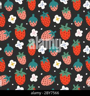 Strawberry seamless pattern on black background, fruit ornament with hand drawn illustration of berries with blooming flowers, good for kitchen - Stock Photo