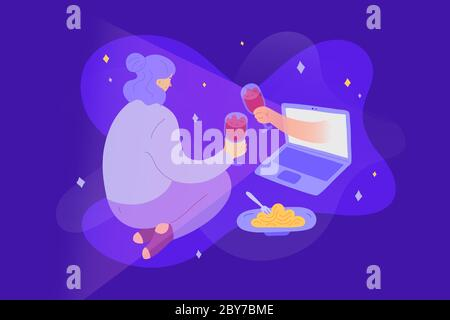 Online date during quarantine and self-isolation, woman talking and having dinner with her partner via video chat, virtual relationship while - Stock Photo