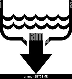 Water Drain, Bathroom Sink, Plumbing. Flat Vector Icon illustration. Simple black symbol on white background. Water Drain, Bathroom Sink, Plumbing sig - Stock Photo