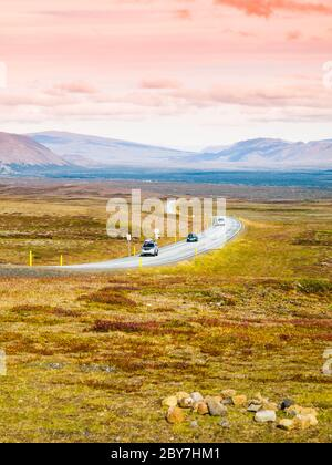 Road through the volcanic landscape of Iceland