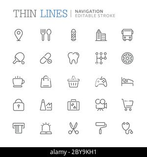 Collection of navigation related line icons. Editable stroke - Stock Photo