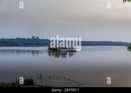 Murchison Falls national park / Uganda - Februari 20 2020: Ferry crossing the Nile river to bring the safari tourists to the other side.