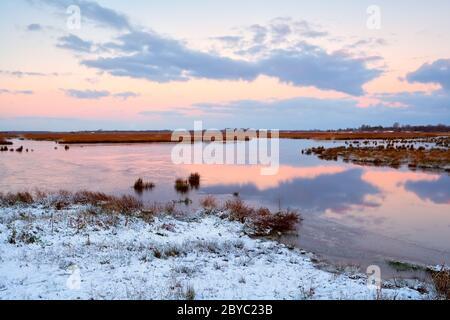 sunrise over frozen swamp in winter - Stock Photo