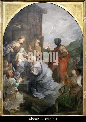 Adoration of the Magi by Guido Reni, 1642 - Stock Photo