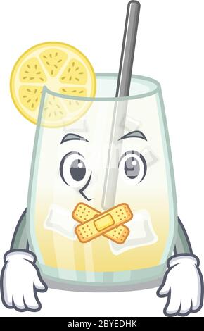 Tom collins cocktail cartoon character style having strange silent face - Stock Photo