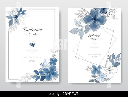 Collection of blue watercolor flower card. Decorative floral greeting card, wedding or invitation design background. - Vector - Stock Photo