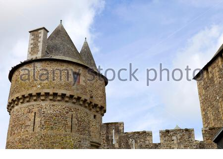 Castle of Fougeres in Brittany, north of France - Stock Photo