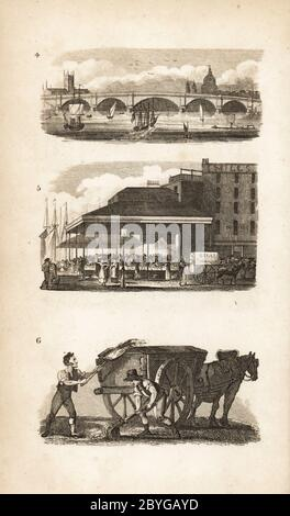 New London Bridge, Billingsgate and the Scavenger. New London Bridge built by John Rennie in 1825 4,  Billingsgate fish market 5 and Scavengers with horse and cart cleaning the streets 6. Woodcut engraving after an illustration by Isaac Taylor from City Scenes, or a Peep into London, by Ann Taylor and Jane Taylor, published by Harvey and Darton, Gracechurch Street, London, 1828. English sisters Ann and Jane Taylor were prolific Romantic poets and writers of children's books in the early 19th century.