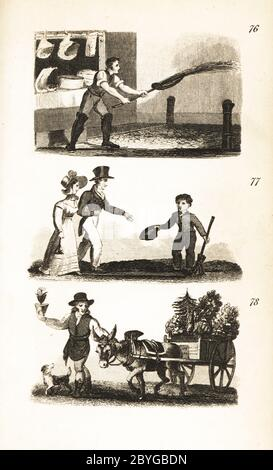 Watering the Streets, Little Boy at the Crossing and the Flowerpot Man. Man spreading water on the streets in front of a butcher's shop 76, man dropping a halfpenny in the hat of a boy who has laid down a board for him to cross 77 and flowerpot man selling flowers from a cart drawn by a donkey 78. - Stock Photo