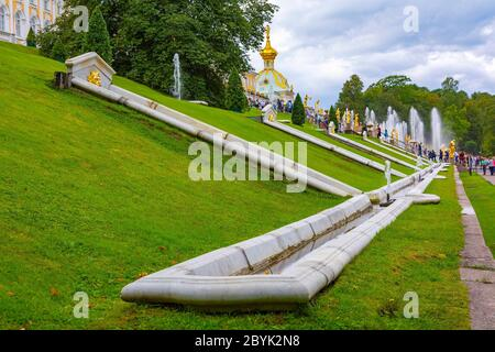 Fragment of the design of the slope in front of the Grand cascade fountain in the lower Park - Stock Photo