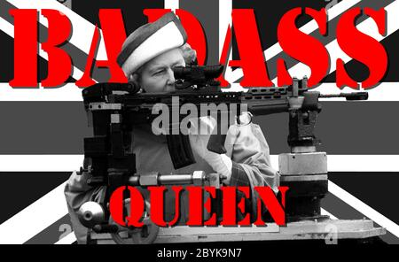 HM Queen Elizabeth II fires a rifle during a visit to the Army rifle association at Bisley, England July 1993. On the Union Jack flag of the United Ki - Stock Photo