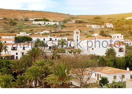 Betancuria small town with Santa Maria de Betancuria church on Fuerteventura, Canary Islands, Spain - Stock Photo