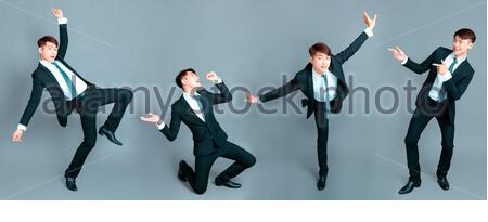 happy young businessman dancing in motion - Stock Photo