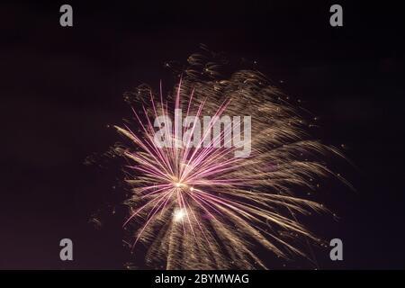 New Year's Eve fireworks, St. Pauli Landing Stages, Hamburg,Germany, Europe - Stock Photo