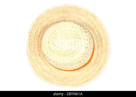 straw hat isolated on the white background - Stock Photo