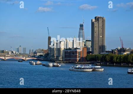 London, UK - September 16, 2011:  View from Waterloo Bridge of the South Bank of the River Thames at Lambeth. Includes Gabriel's Wharf, Tate Modern Ar Stock Photo