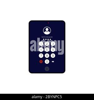 Touch ID or enter passcode, password, interface on tablet icon flat on isolated white background. EPS 10 vector - Stock Photo